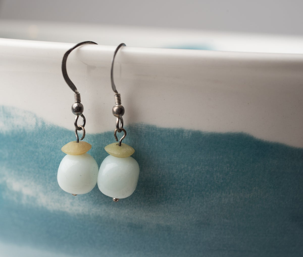 Image of Antiqued Silver Amazonite and Jade Earrings