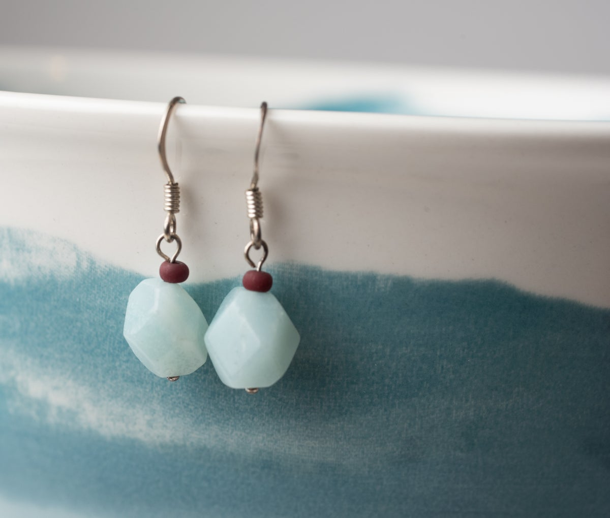 Image of Antiqued Silver Faceted Amazonite Earrings
