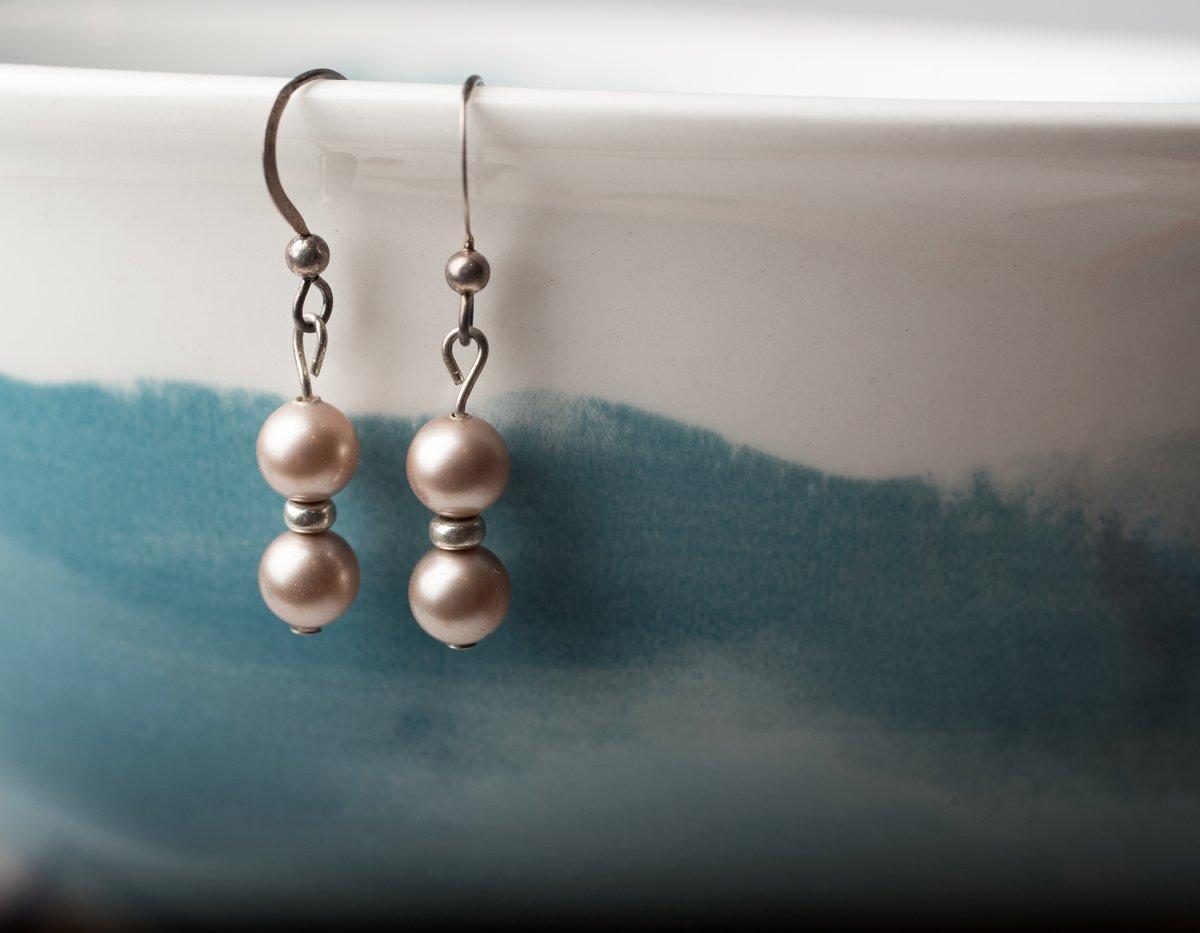 Image of Antiqued Silver Swarovski Pearl Earrings