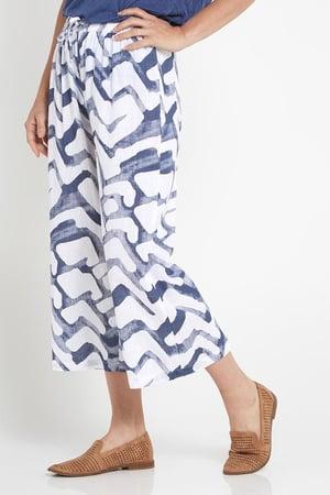 Image of Anne Wave Linen/ Cotton Pants blue