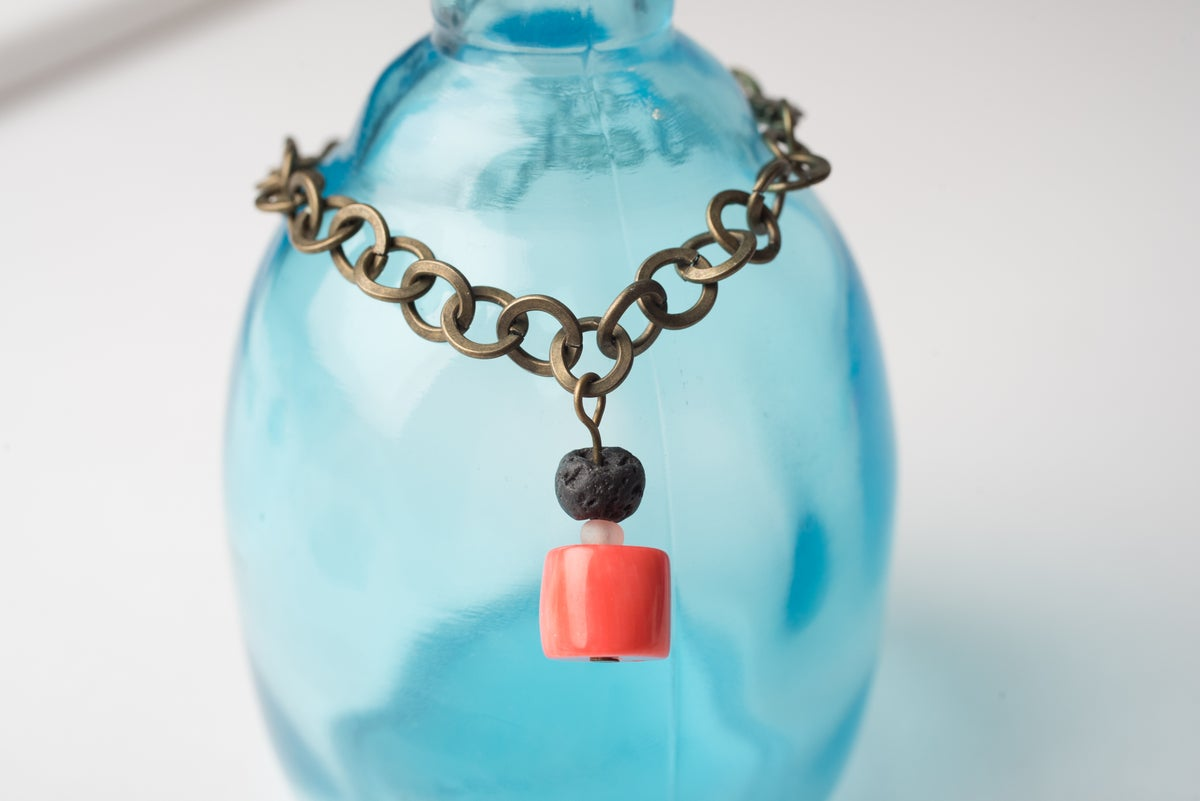 Image of Antique Brass Coral Drop Bracelet