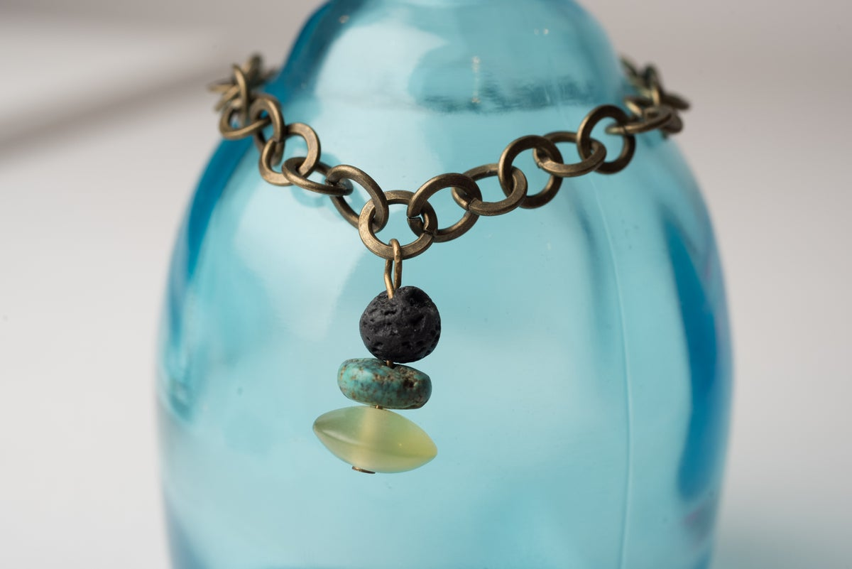 Image of Antique Brass Lava, Turquoise, and Afghan Jade Drop Bracelet