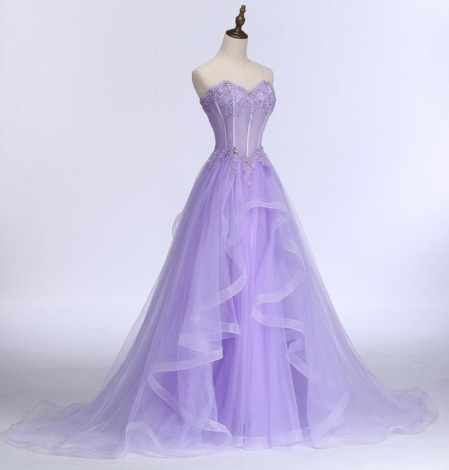 Elegant Lavender Tulle Long Party Dress, Beautiful A-Line Prom Dress