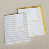 Image of happy birthday & hello friend: 2-pk letterpress cards