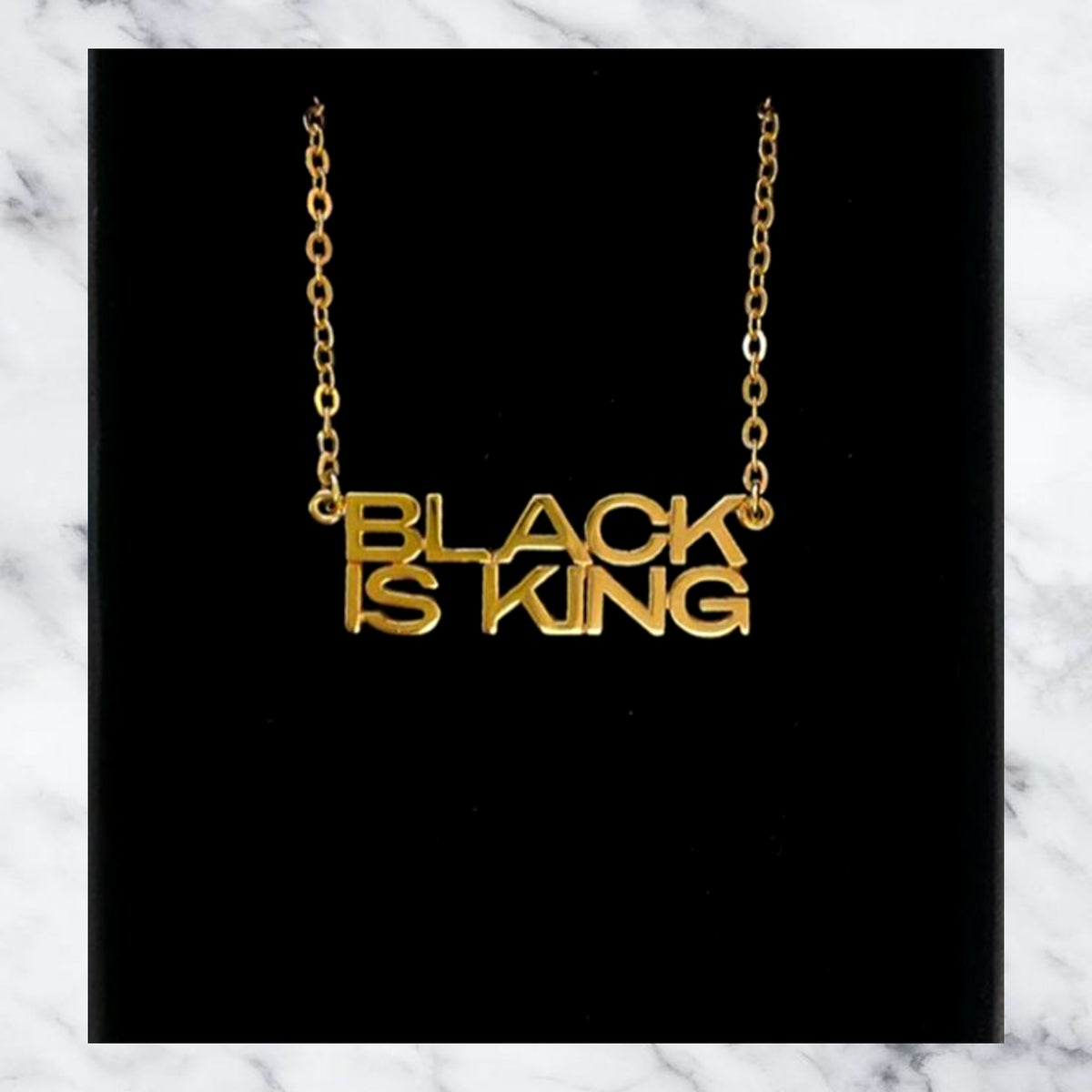 Image of BLACK IS KING  PERSONLISED NECKLACE