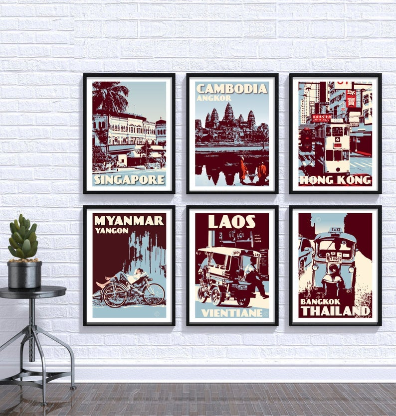 Image of Blue Mix Asia Print Set | Set of 6 Prints | Gallery Wall Set | Choose any 6 prints in my shop