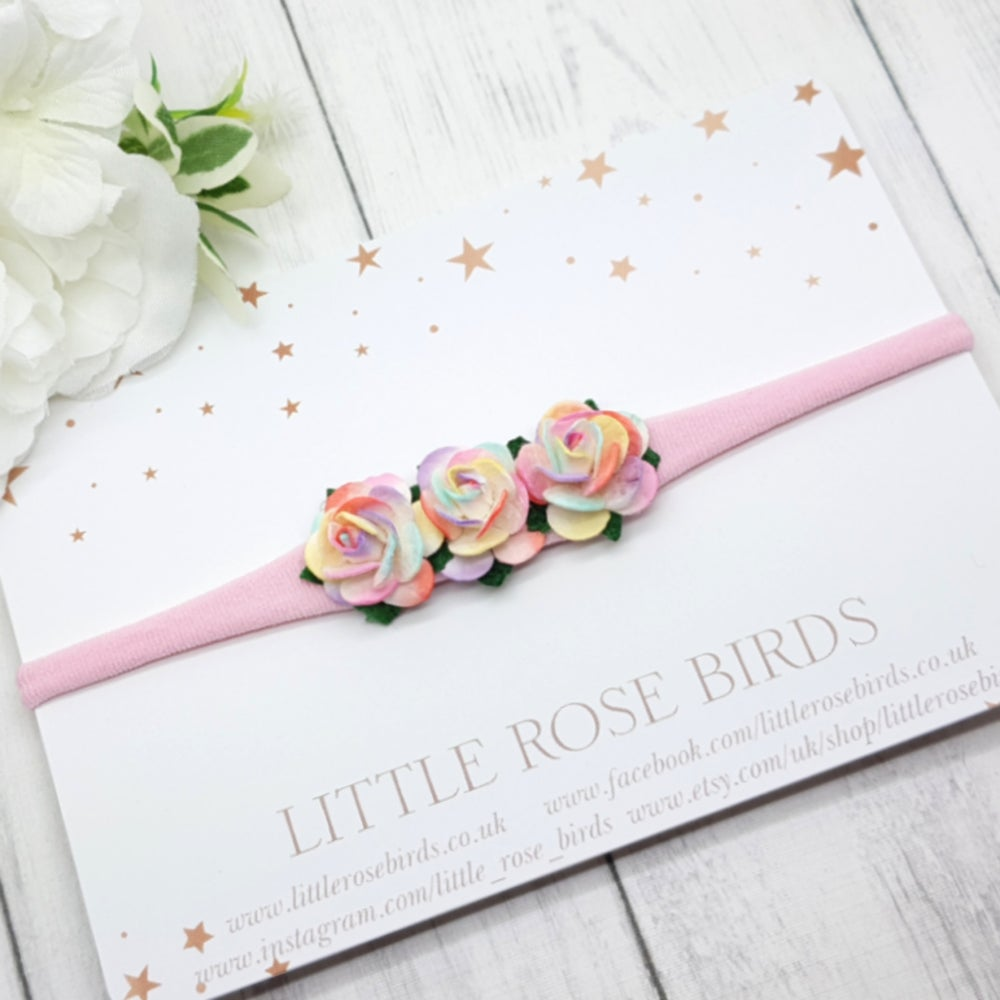 Image of Two Tone Pastel Rainbow Headband