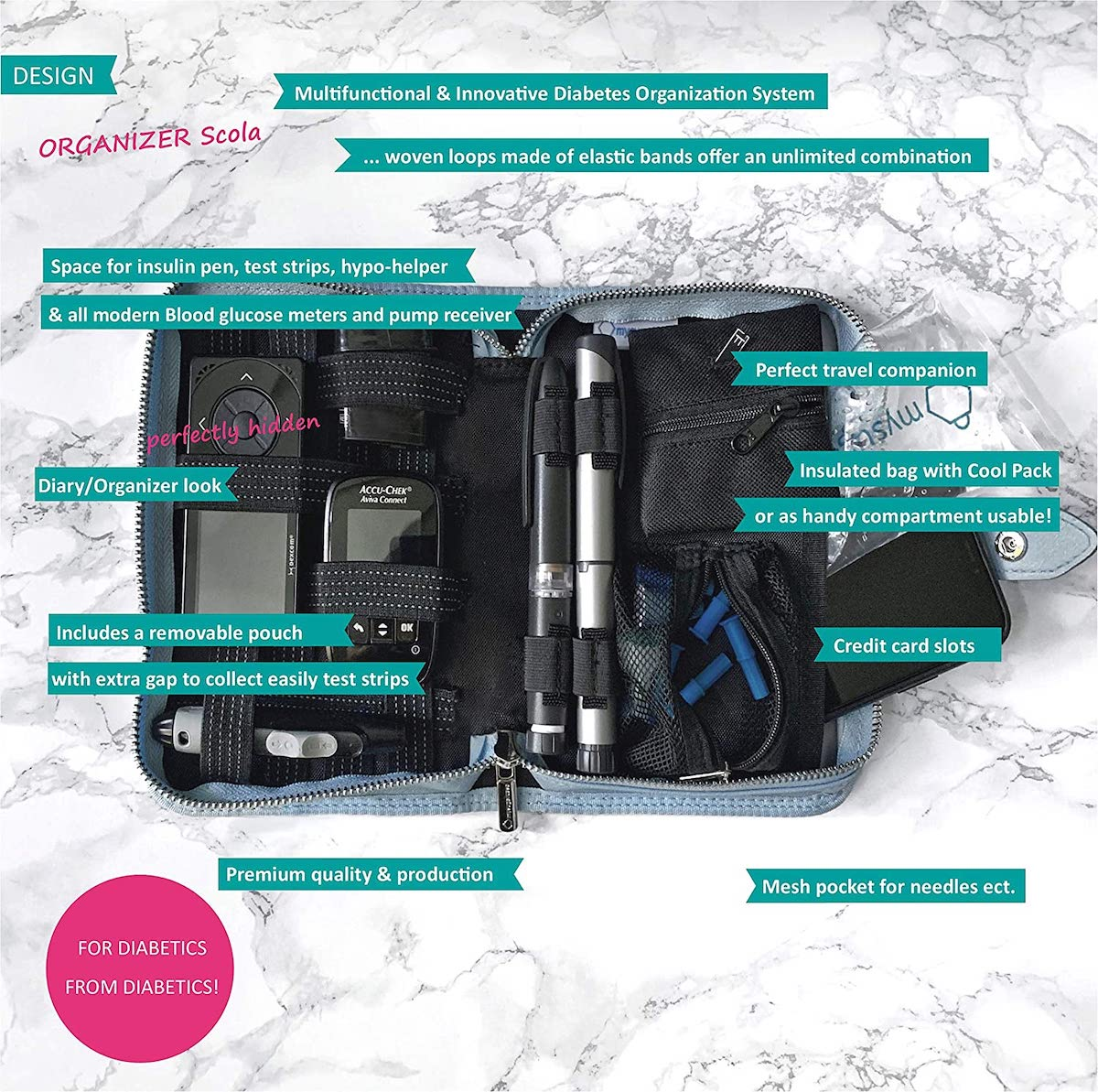 Image of Diabetes Organizer Blue - shipping to Europe