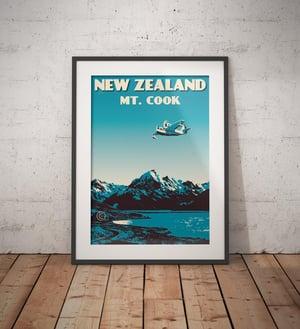 Image of Vintage poster New Zealand Mount Cook | Lake Pukaki | Wall Art decor | Seaplane | Night Blue