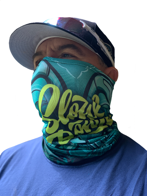 Image of Slowdown Neck Gaiter (buff) big green Fish