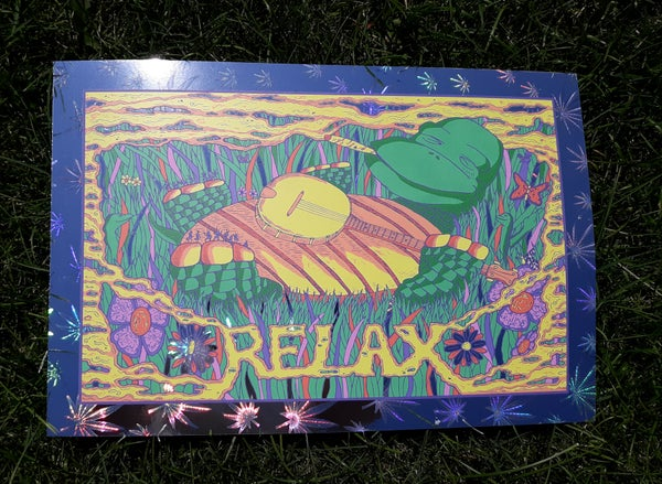 Image of Relax on Marijuana Leaf Foil