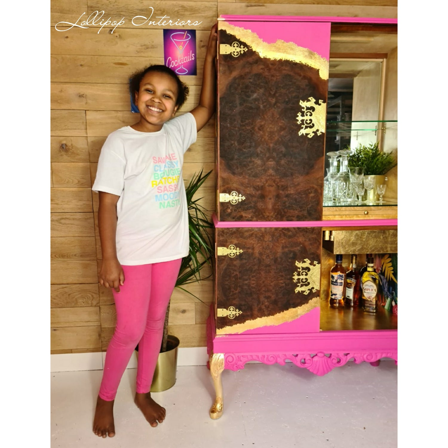 Image of Pink cocktail cabinet