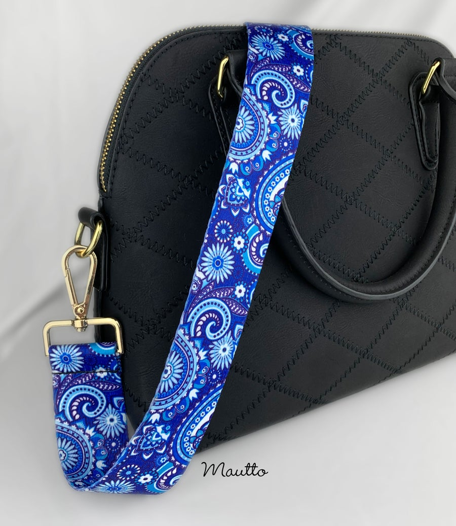 Image of Blue Paisley Strap for Purses or Handbags - Dreamy Wave Design - Adjustable Guitar Style Strap