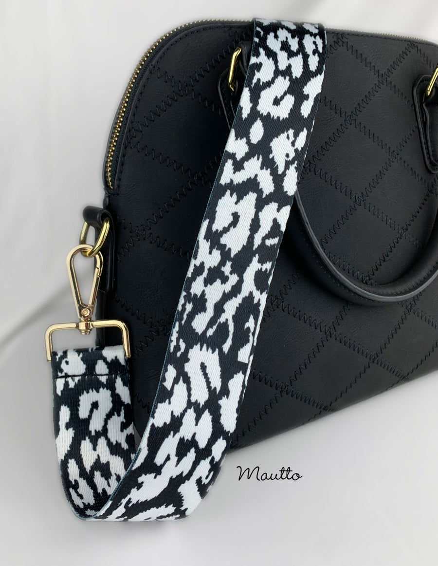 Image of Black & White Bovine Strap for Bags - Spotted Cow Pattern Design - Adjustable Guitar Style Strap