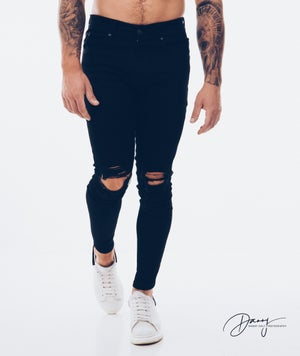 Image of Black Ripped & Repaired Jean