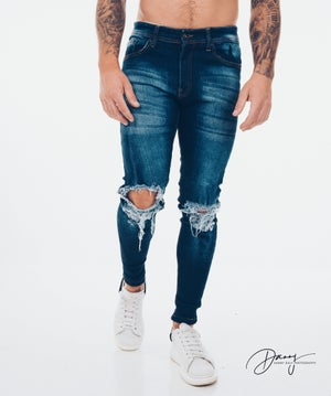 Image of Dark Blue Ripped & Repaired Jean