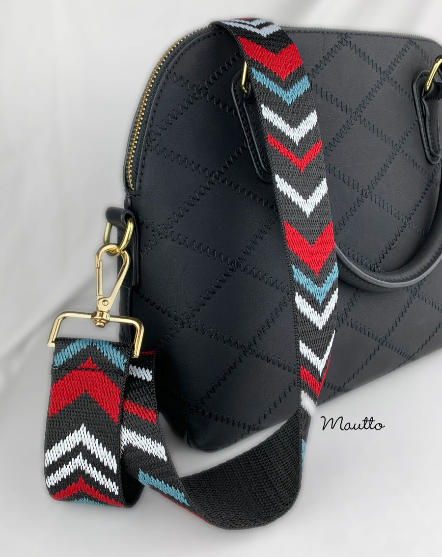 Image of Colorful Chevron Strap for Bags - Black, Red, White, Blue Design - Adjustable Guitar Style Strap