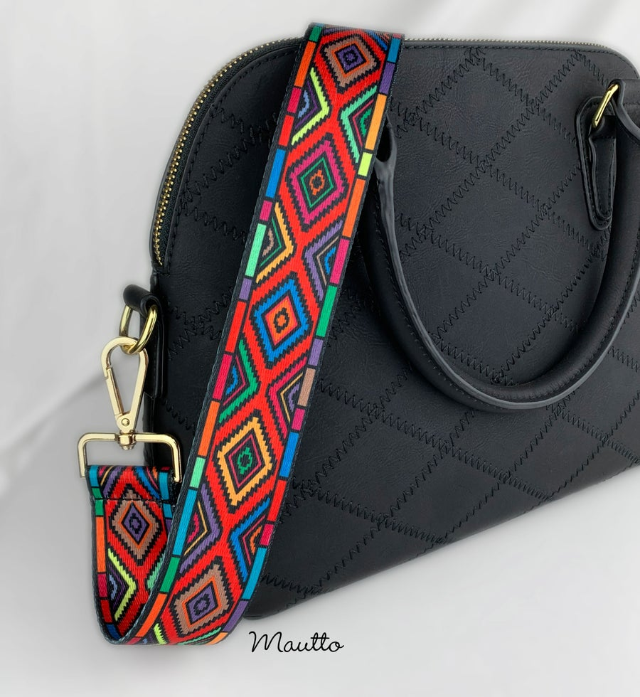 Image of Colorful Diamonds Strap for Bags - Geometric Stained Glass Design - Adjustable Guitar Style Strap