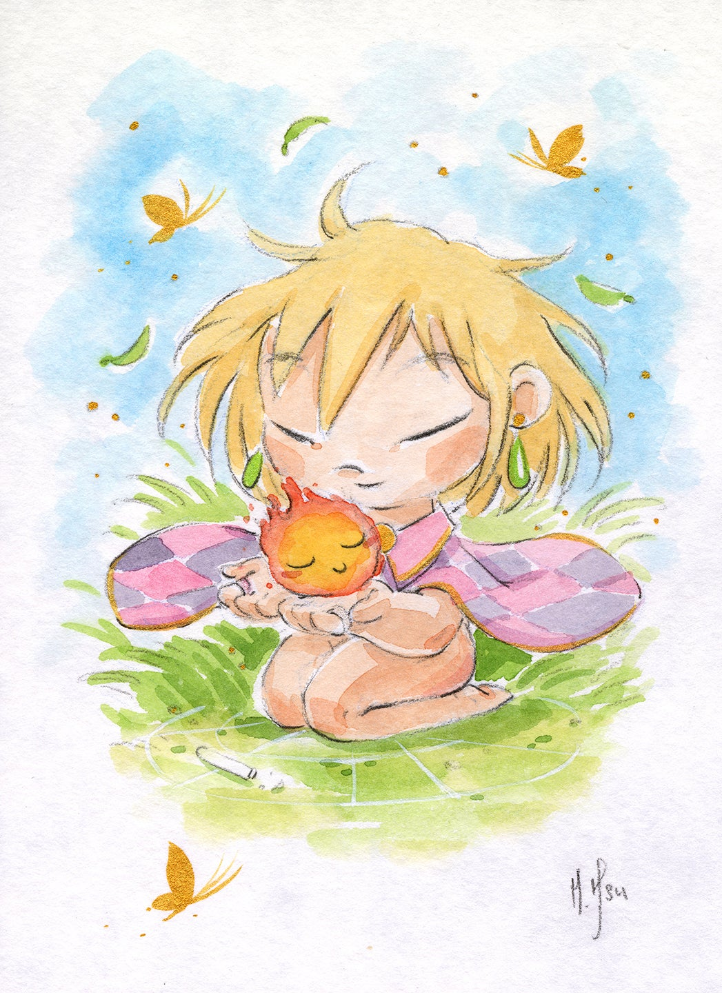 Baby Howl and Calcifer 3-Pack Prints