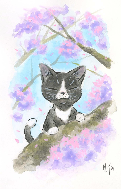 "Sakura Cats 5-Pack 5 x 7"" Prints"
