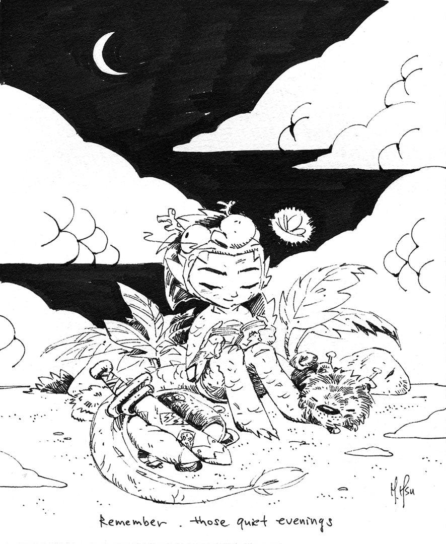"Dragon Boy Tales, Quiet Evenings - 11 x 14"" Print"
