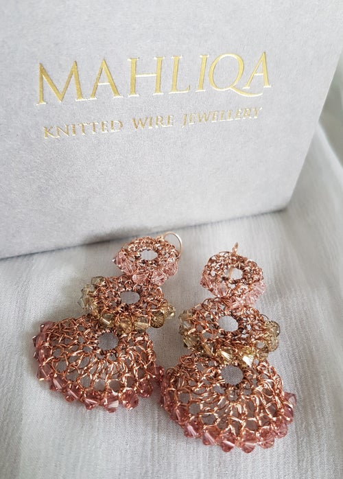 Image of CASCADE EARRINGS- Faded Rose
