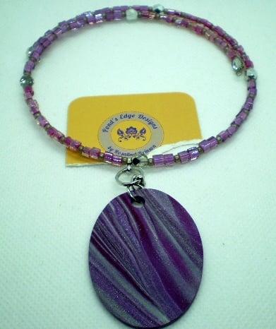 Purple Memory Wire Necklace