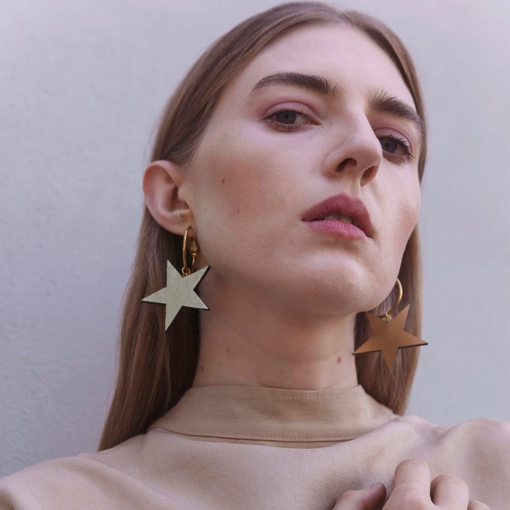 Image of CELESTE star hoop earrings
