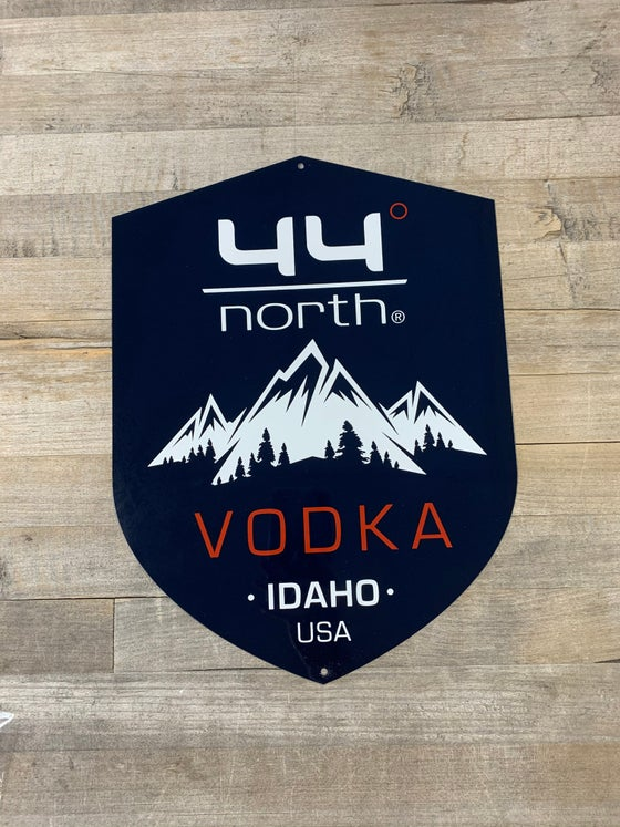 Image of 44° North Vodka Metal Shield sign