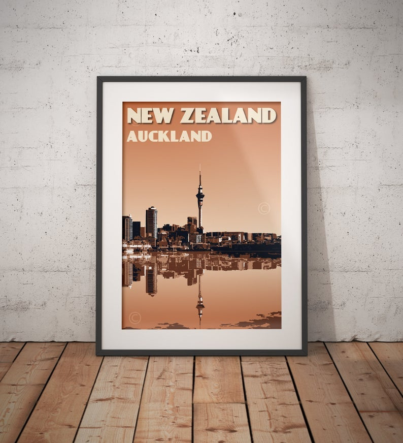 Image of Vintage poster New Zealand Auckland City Skyline | Wall Art decor | Cityscape | Burnt orange