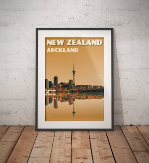 Image of Vintage poster New Zealand Auckland City Skyline | Wall Art decor | Cityscape | Honeymoon