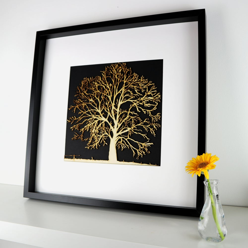 Image of Woodcut Oak Tree - Framed
