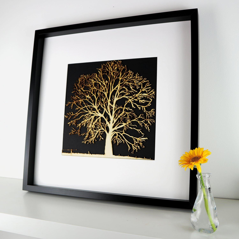 Image of Woodcut Oak Tree - Framed