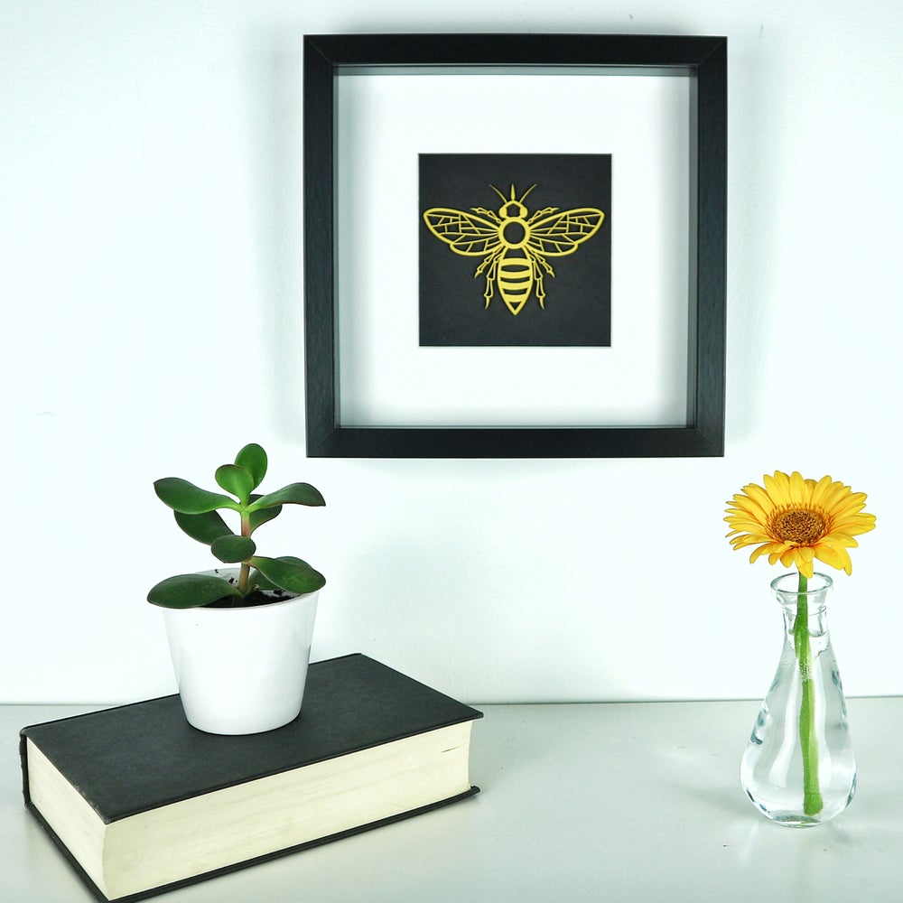 Image of Mounted woodcut bee