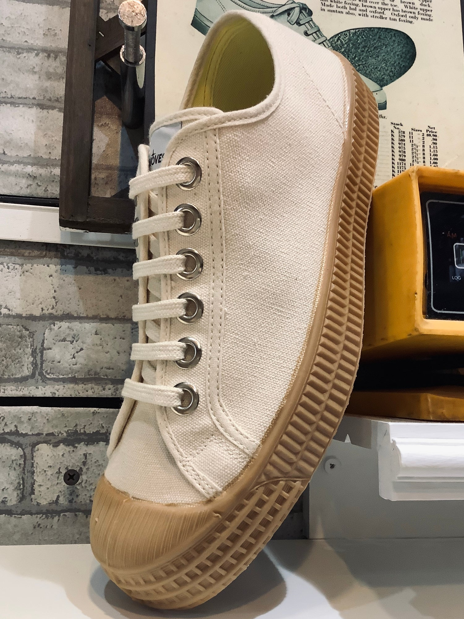 Image of Novesta master lo beige sneaker shoes made in Slovakia
