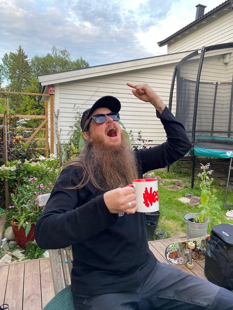 Image of Neseblod mug PRE-ORDER!!! Fenriz testing the cup.