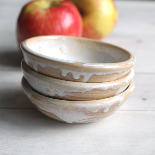 Image of Set of Three Small Rustic Prep Bowls Ceramic Pottery Ready to Ship Made in USA