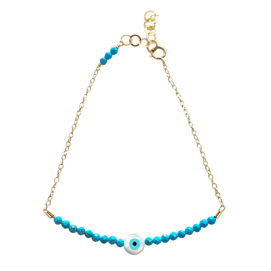 Image of Turquoise Eye Bracelet Half Beaded with Chain