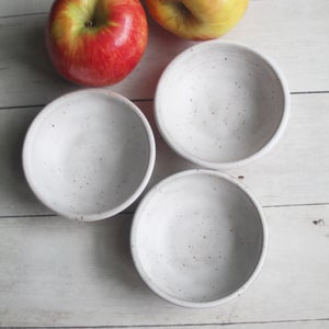 Image of Set of Three Matte White Speckled Stoneware Pottery Prep Bowls Made in USA