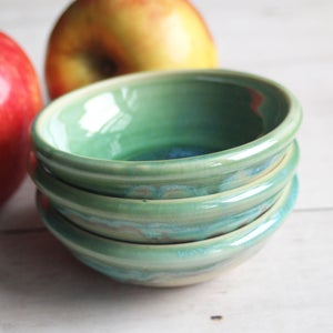 Image of Crackled Green Prep Bowls, Set of Three Ceramic Handmade Pottery Bowls, Made in USA