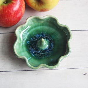 Image of Ring Holder in Crackled Green Glaze Handmade Pottery Gift Made in USA