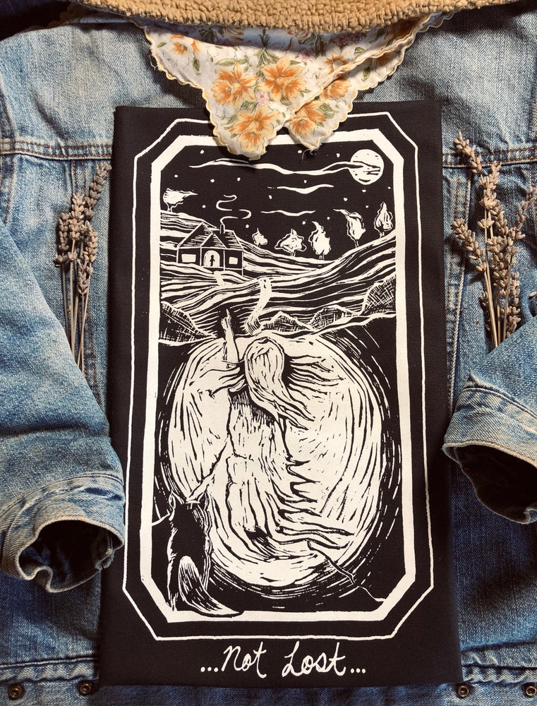 "Image of Pt. 3 or ""Not Lost"" Backpatch/black canvas"
