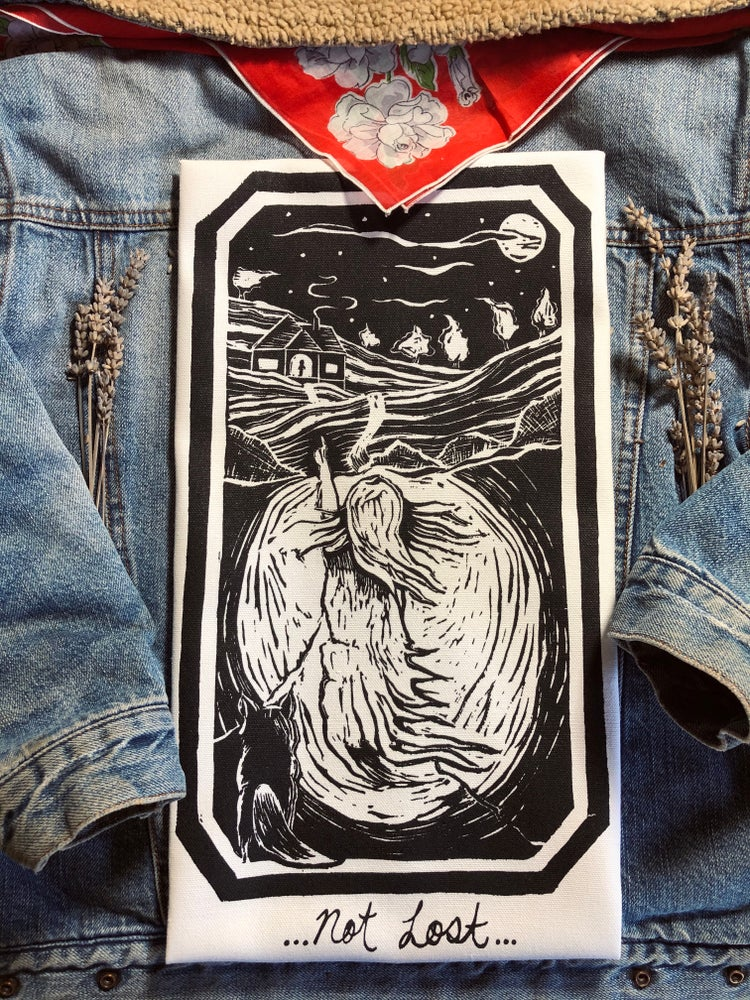 "Image of Pt. 3 or ""Not Lost"" Backpatch/white canvas"