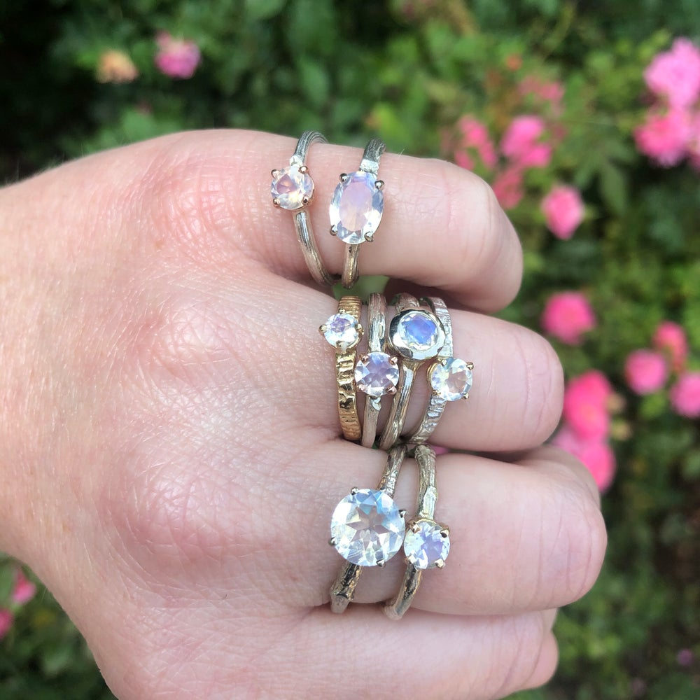 Image of 14k twig engagement ring with rainbow moonstone