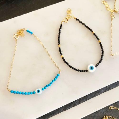 Image of Turquoise Eye Bracelet Half Beaded with Chain