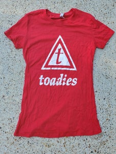 Image of Womens Triangle T Distressed Logo Fitted Shirt
