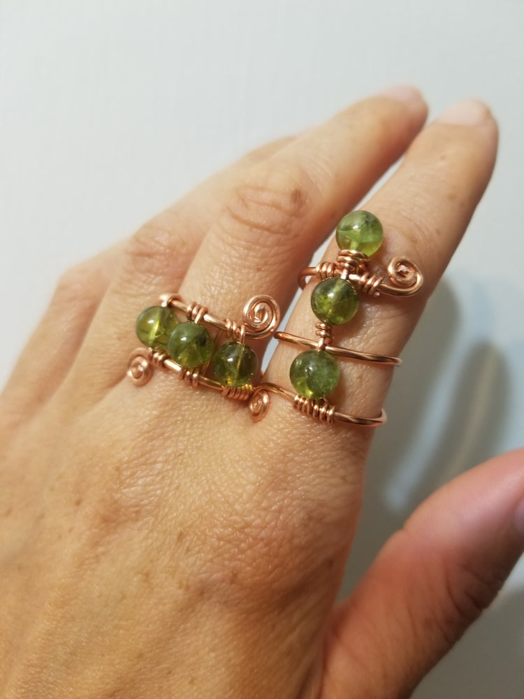 Image of Peridot beaded ring