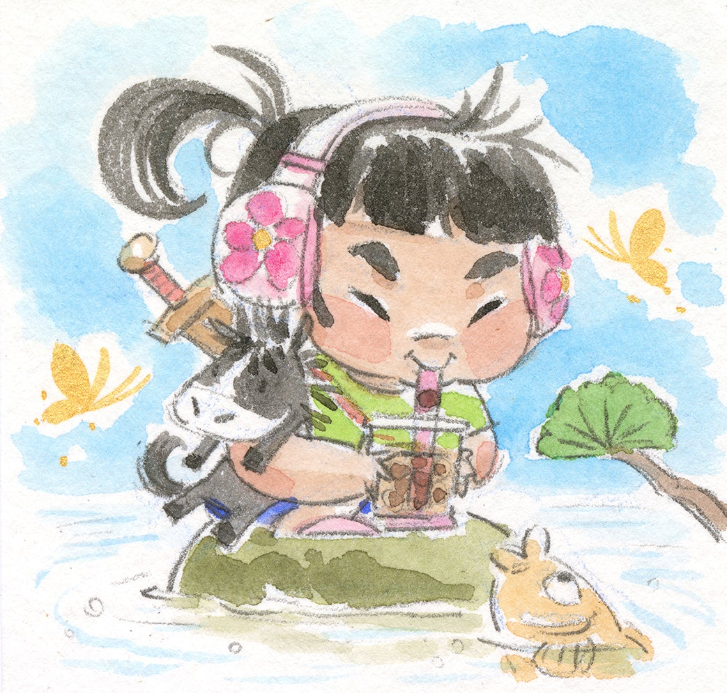 "Mulan Loves Boba 3-Pack 5 x 7"" Prints"