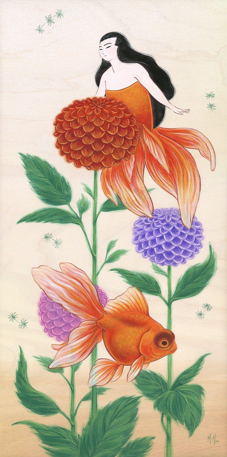 "Goldfish and Dahlias 11 x 14"" Print"