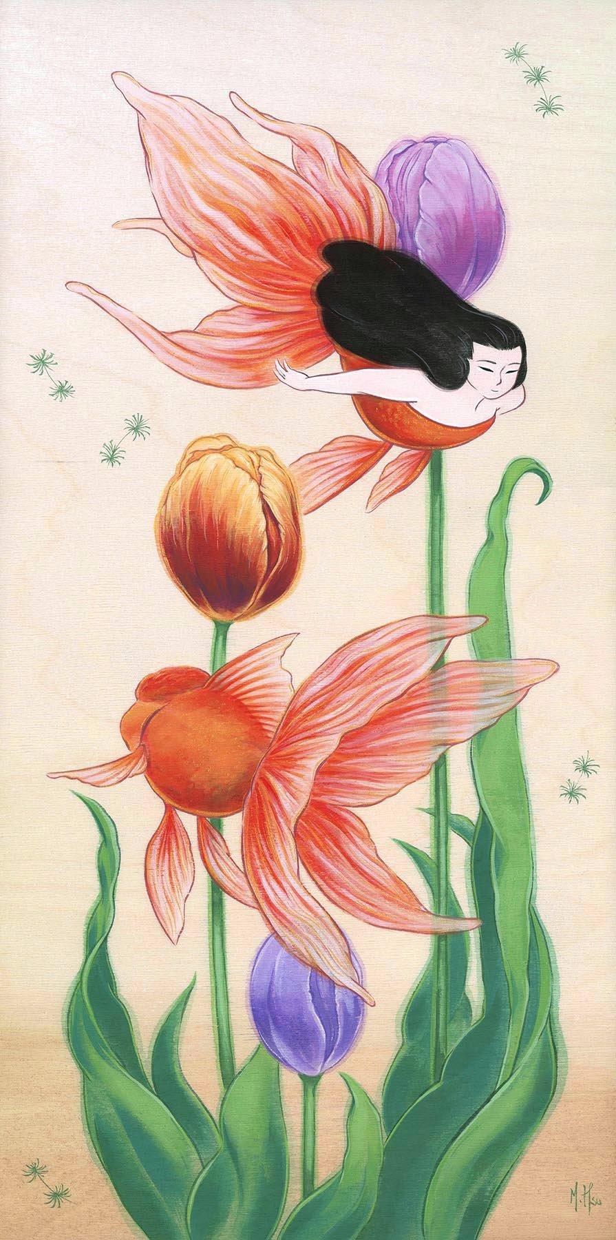 "Goldfish and Tulips 11 x 14"" Print"